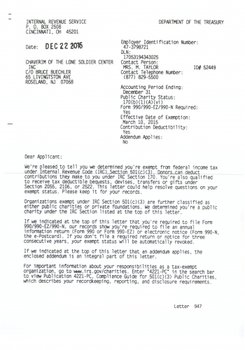 501c3 Irs Letter The Lone Soldier Center